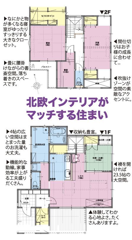 北欧インテリアがマッチする住まい なにかと物が多くなる寝室がゆったりすっきりする大きなクローゼット。 畳に腰掛けながらの書斎空間。落ち着きのスペースです。 間仕切りはお子様の成長に合わせて・・・ 吹抜けゾーンが空間の素敵なアクセントに。 4帖の広い空間はまとまった量のお洗濯も大丈夫。 収納も豊富。 機能的な動線。家事効率が上がる工夫盛りだくさん。 襖を開ければ23.5帖の大空間。 体験してわかる心地よさ。たくさんありますよ。